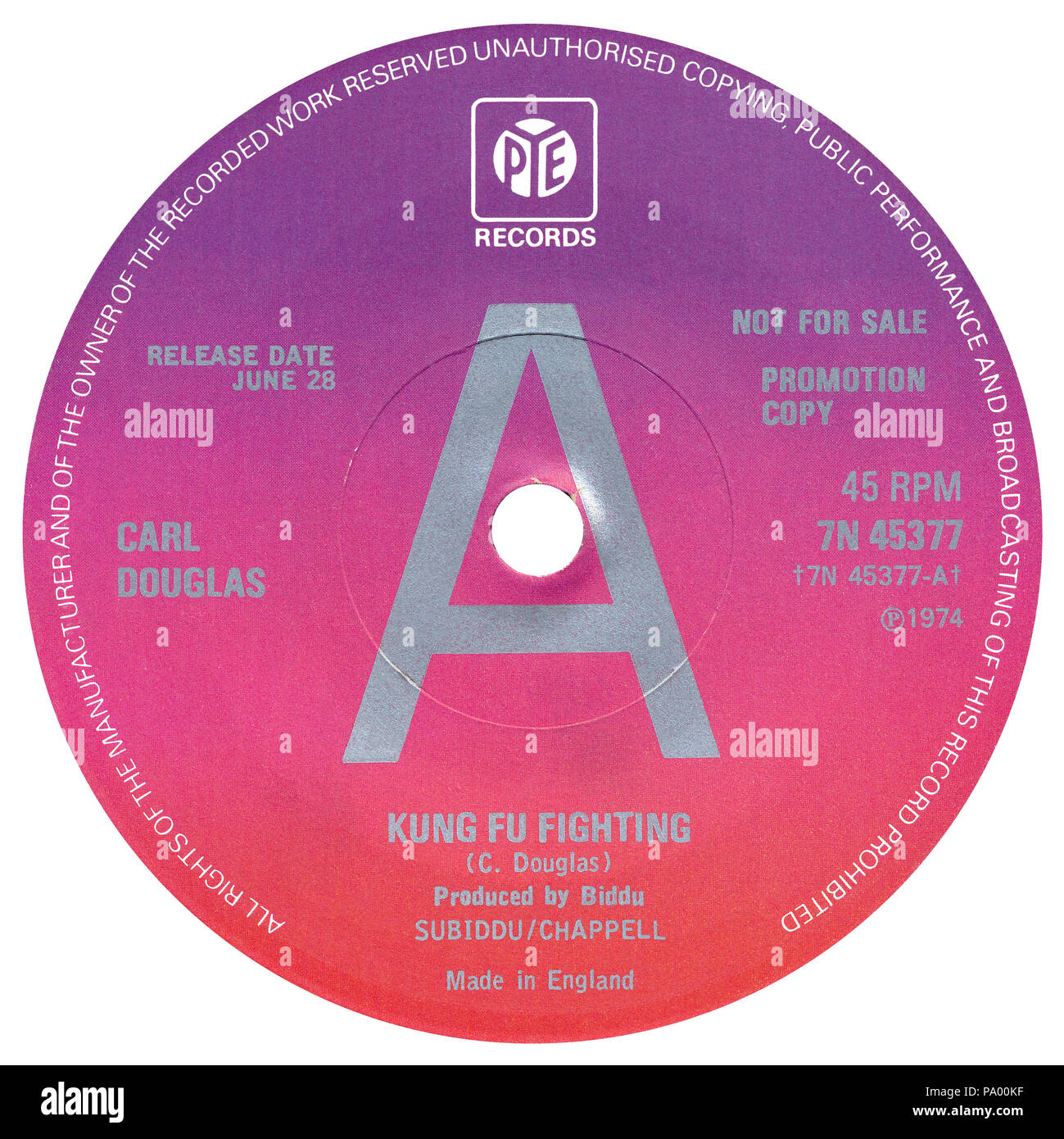 "UK 45 rpm promotional 7"" single label of Kung Fu Fighting by Carl Douglas on the Pye label from 1974. Written by Carl Douglas and produced by Biddu. Stock Photo"