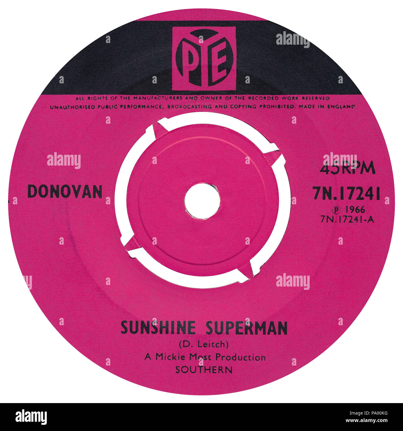 UK 45 rpm 7' single of Sunshine Superman by Donovan on the Pye label from 1966. Written by Donovan Leitch and produced by Mickie Most. - Stock Image