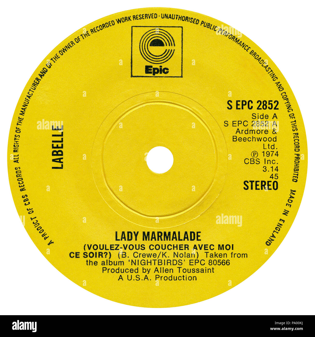 "UK 45 rpm 7"" single of Lady Marmalade (Voulz-Vous Coucher Avec Moi Ce Soir) by Labelle on the Epic label from 1974. Written by Bob Crewe and Kenny Nolan and produced by Allen Toussaint. Stock Photo"