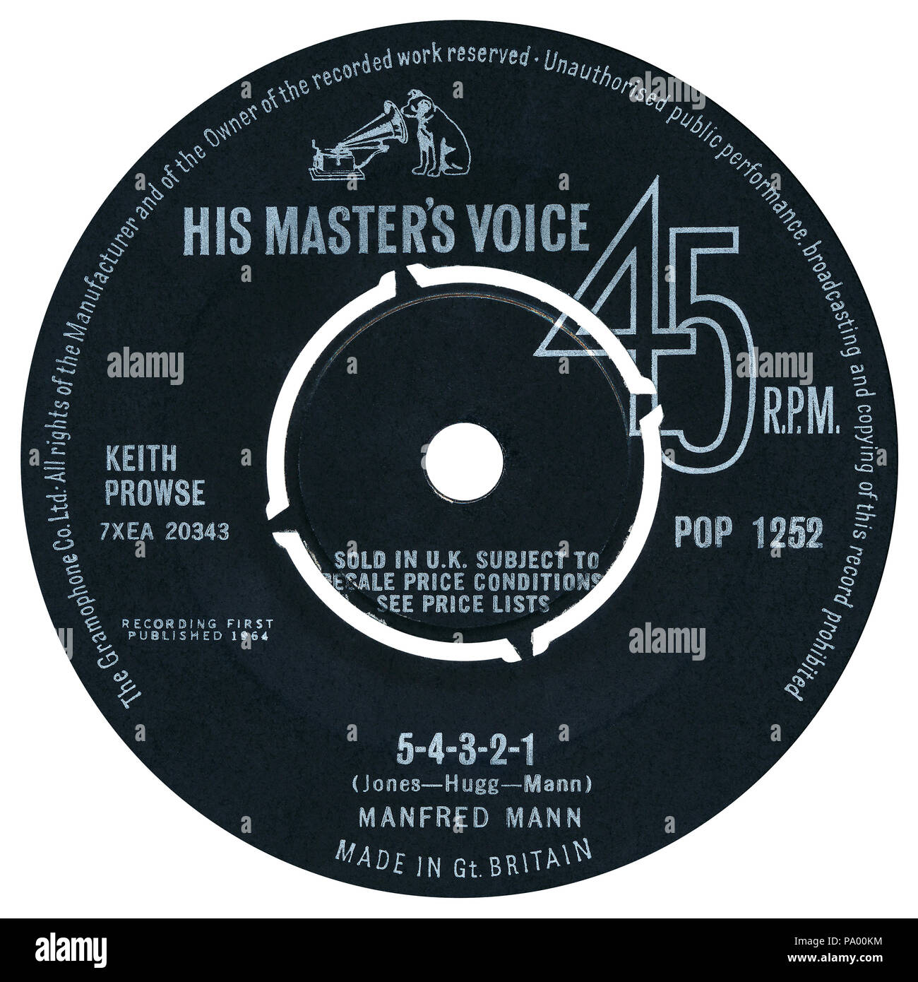 UK 45 rpm 7' single of 5-4-3-2-1 by Manfred Mann on the His Master's Voice label from 1964. Written by Paul Jones, Mike Hugg and Manfred Mann and produced by John Burgess. - Stock Image