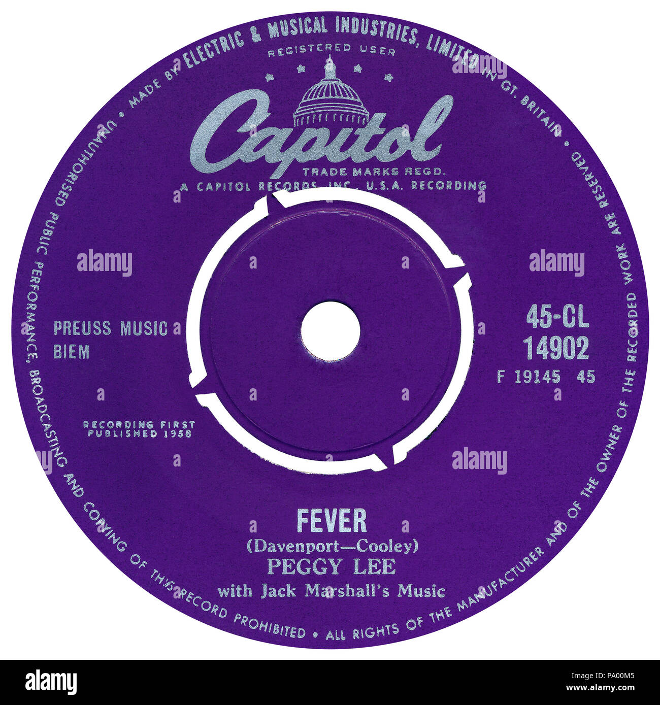 """UK 45 rpm 7"""" single of Fever by Peggy Lee on the Capitol label from 1958. Written by Eddie Cooley and Otis Blackwell (as John Davenport) and produced by Dave Cavanaugh. Stock Photo"""