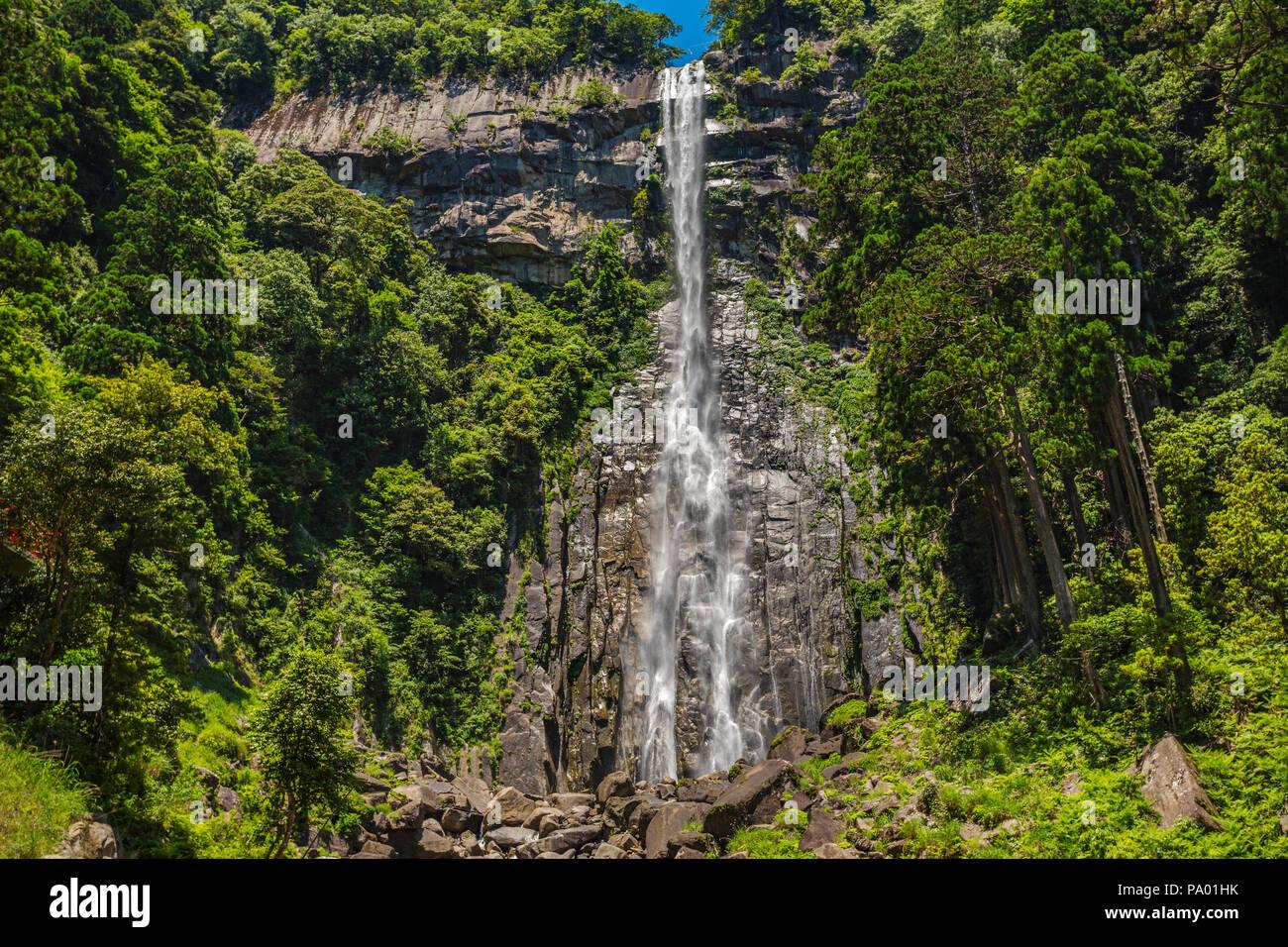 Kumano Kodo pilgrimage route.Trekking to Nachi waterfall. Nachisan. Nakahechi route. Wakayama Prefecture. UNESCO. Japan - Stock Image