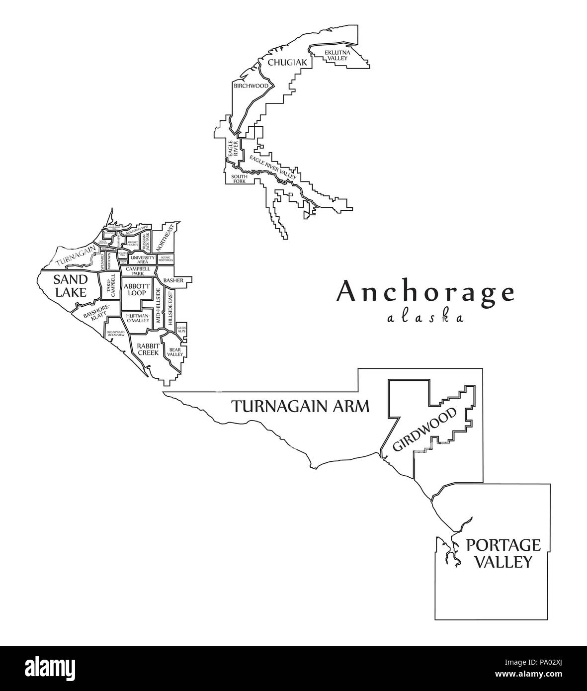 Modern City Map Anchorage Alaska City Of The Usa With