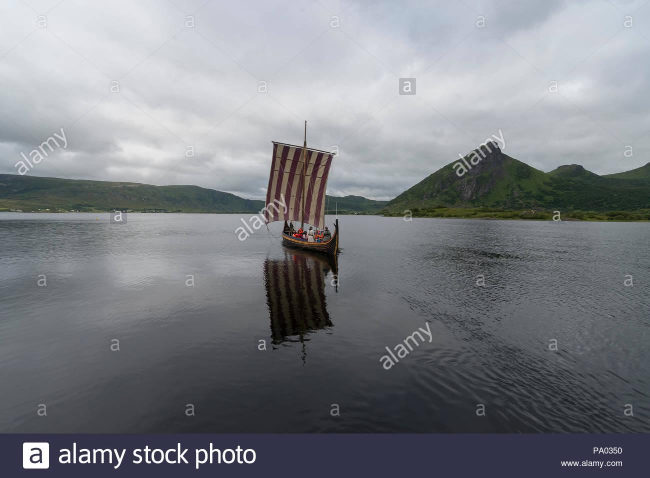 Viking longboat at Viking Museum in Lofoten Islands, Norway - Stock Image