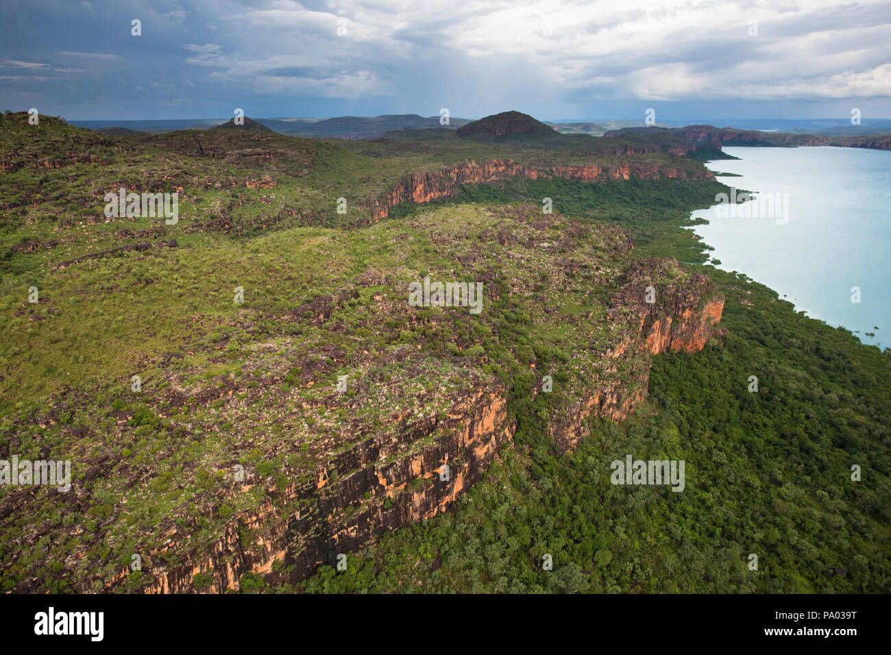 Aerial views of the Hunter River valley in the Kimberley, Western Australia - Stock Image