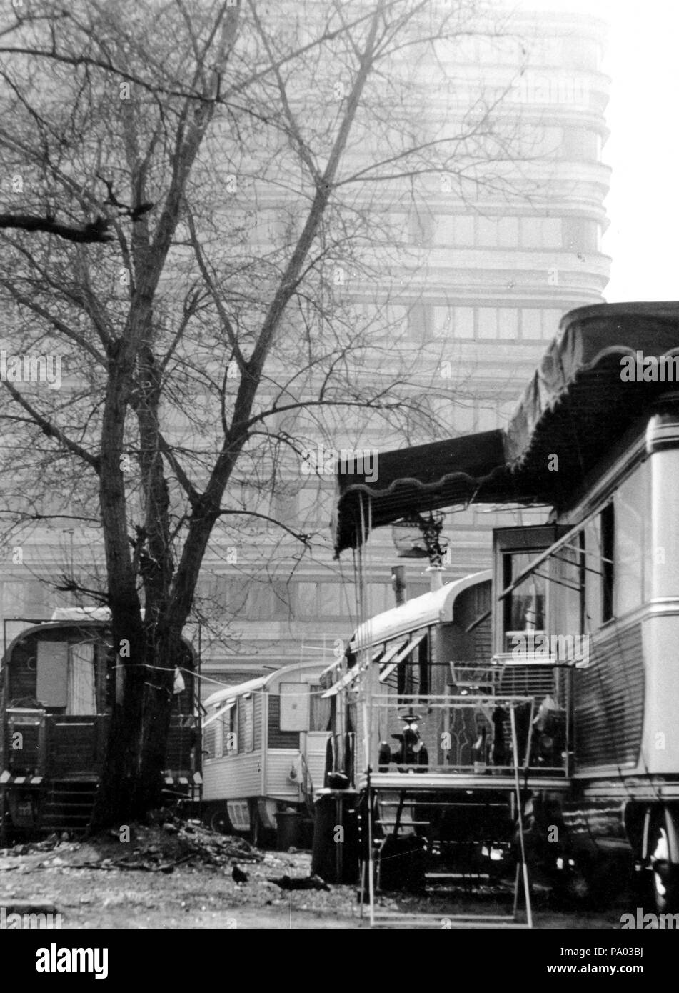 mobile homes of carnies, Milan, Italy, 70s - Stock Image
