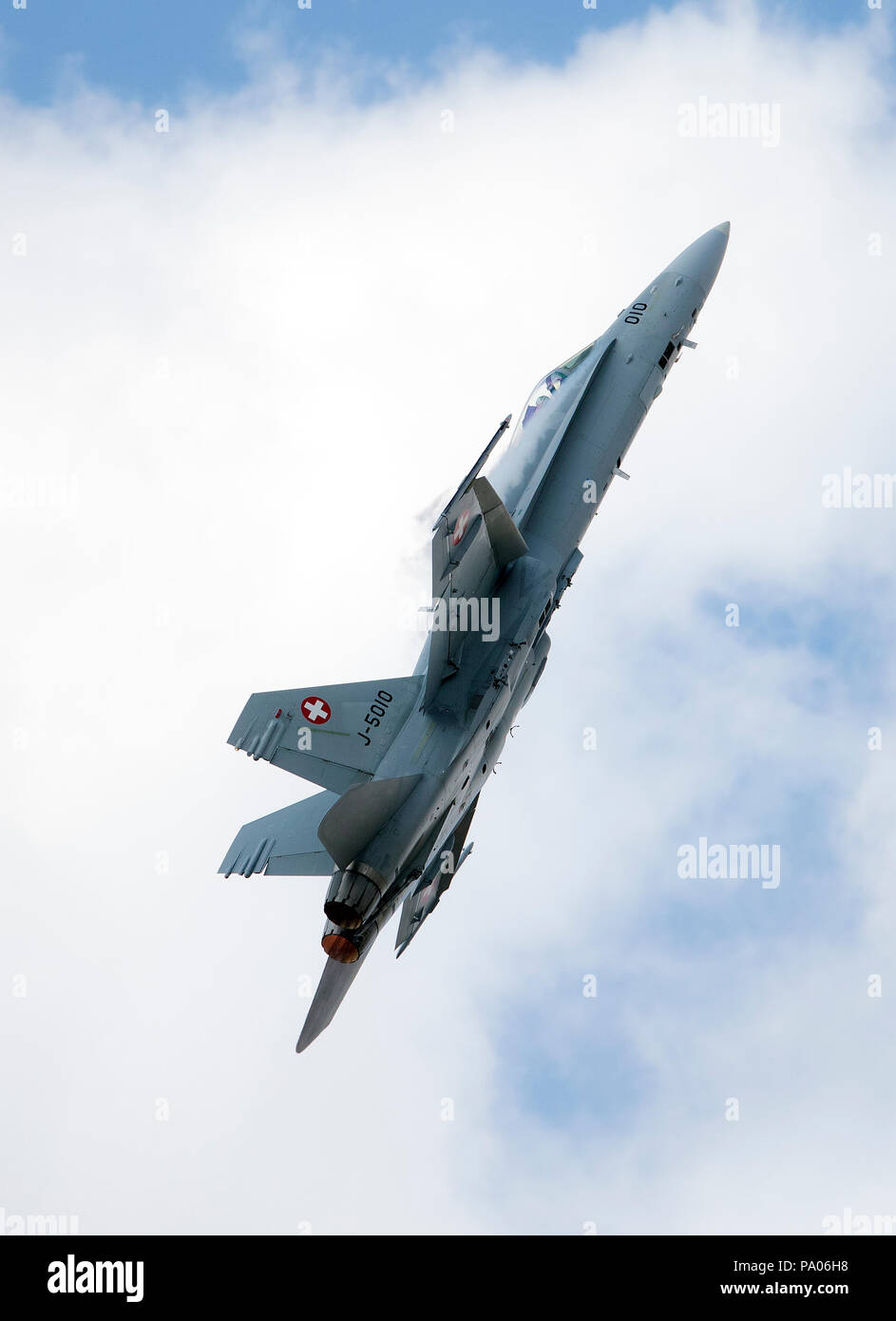 F/A-18C Hornet of the Swiss Air Force displaying at the 2018 RAF RIAT air show, Fairford,Gloucestershire,uk - Stock Image