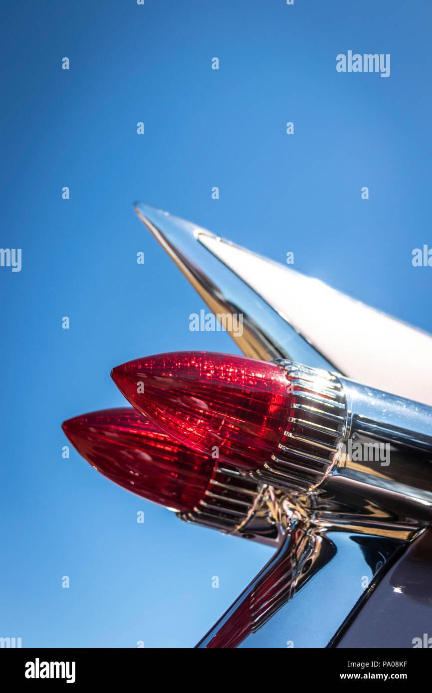 classic 1950s Cadillac sedan deville bullet tail lights - Stock Image
