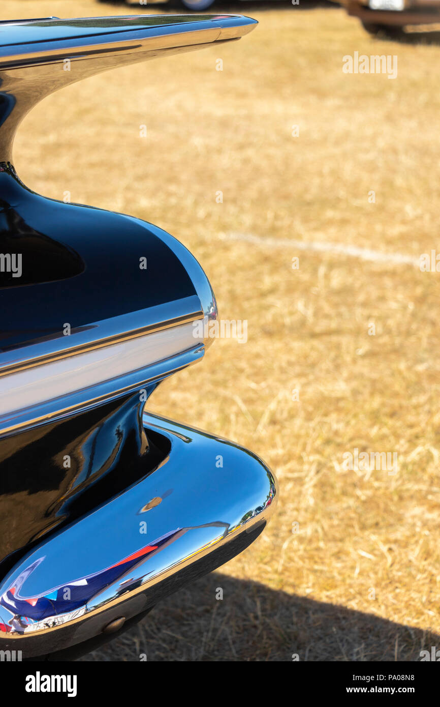 detail closeup of 1950s rear wing fender of American classic car - Stock Image