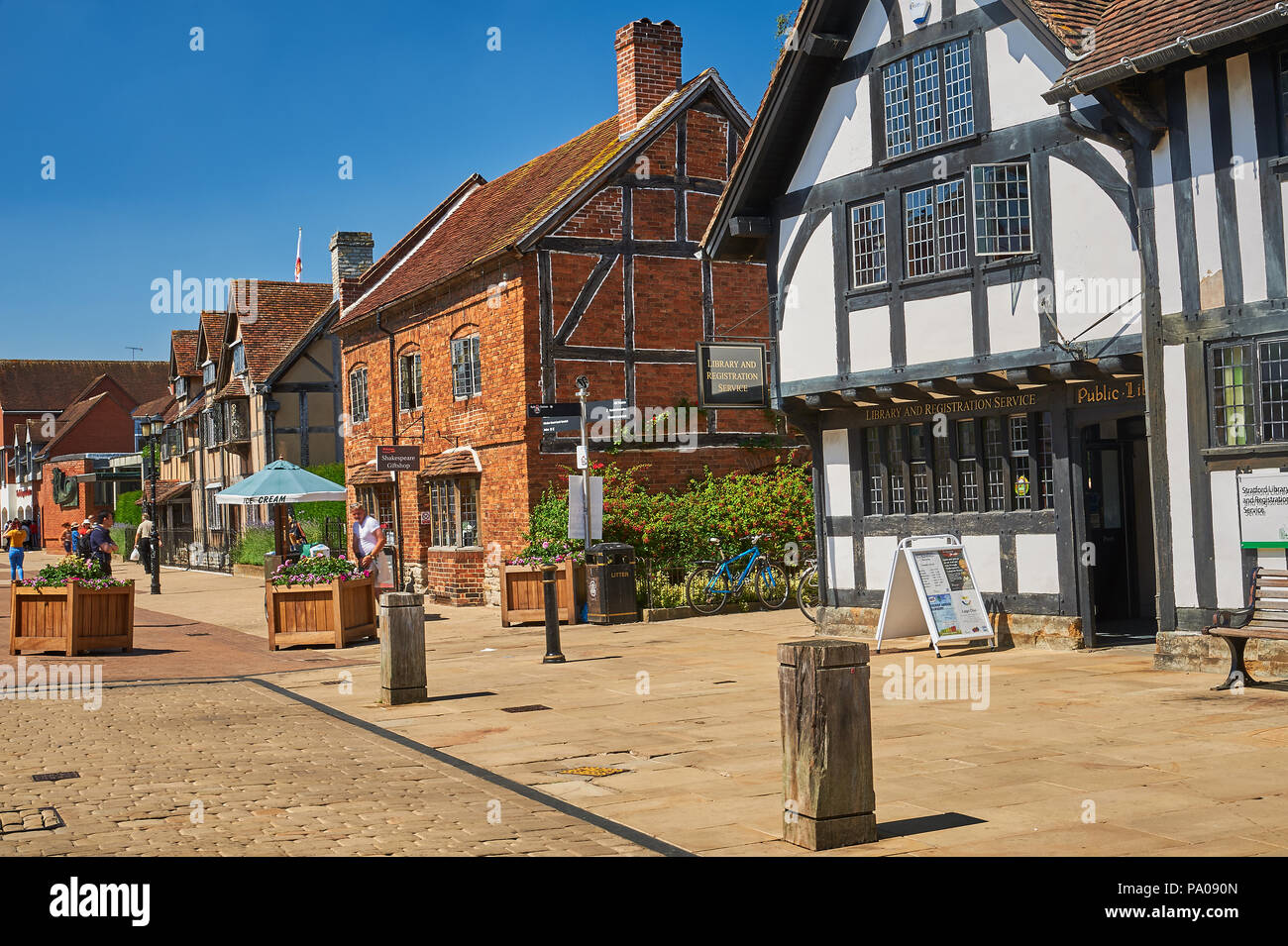Stratford upon Avon and half timbered medieval buildings and brick buildings in Henley Street. Stock Photo