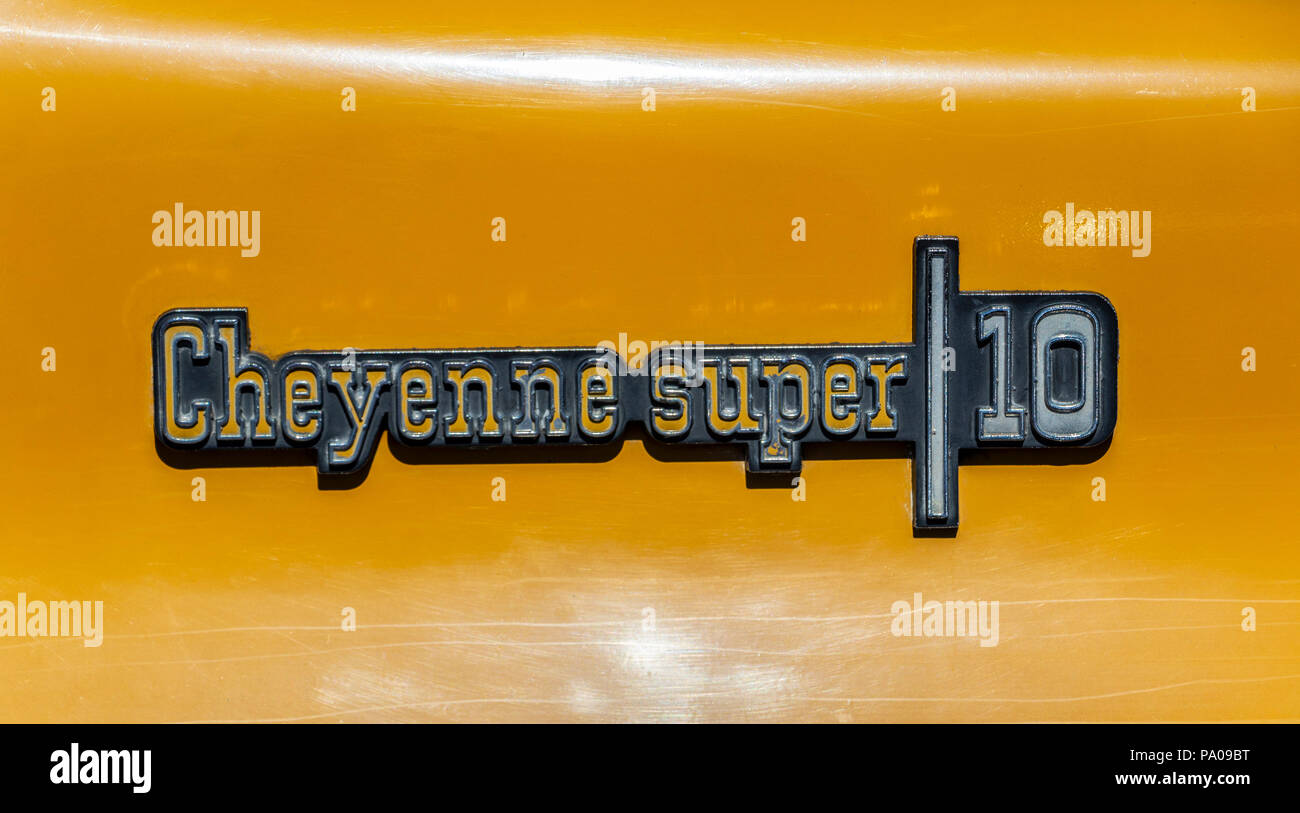 Chevrolet Cheyenne super 10 badge logo in close up - Stock Image