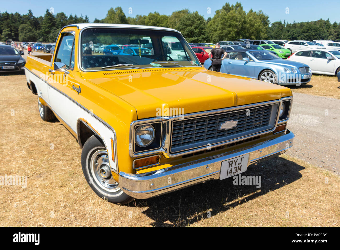 yellow 1970s Chevrolet pick up truck - Stock Image