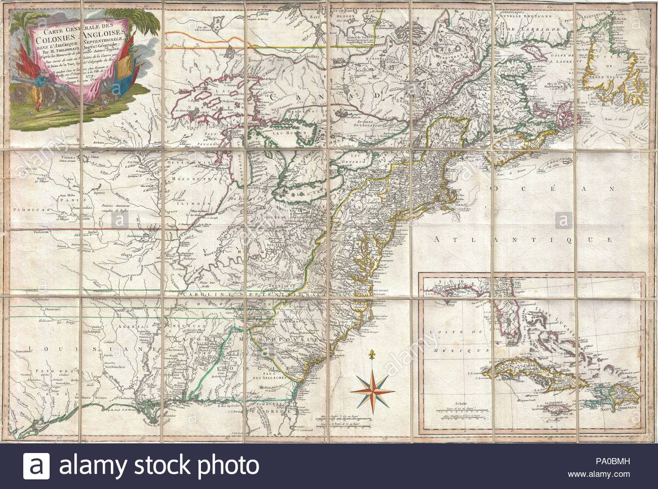 1779, Phelippeaux Case Map of the United States during the ...
