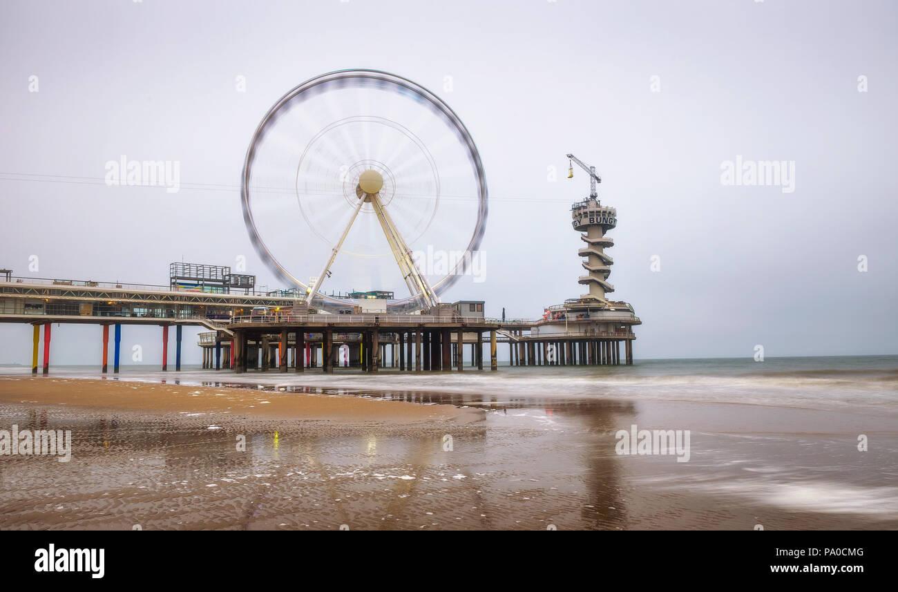Beach view on the Pier in Scheveningen near Hague, Netherlands Stock Photo