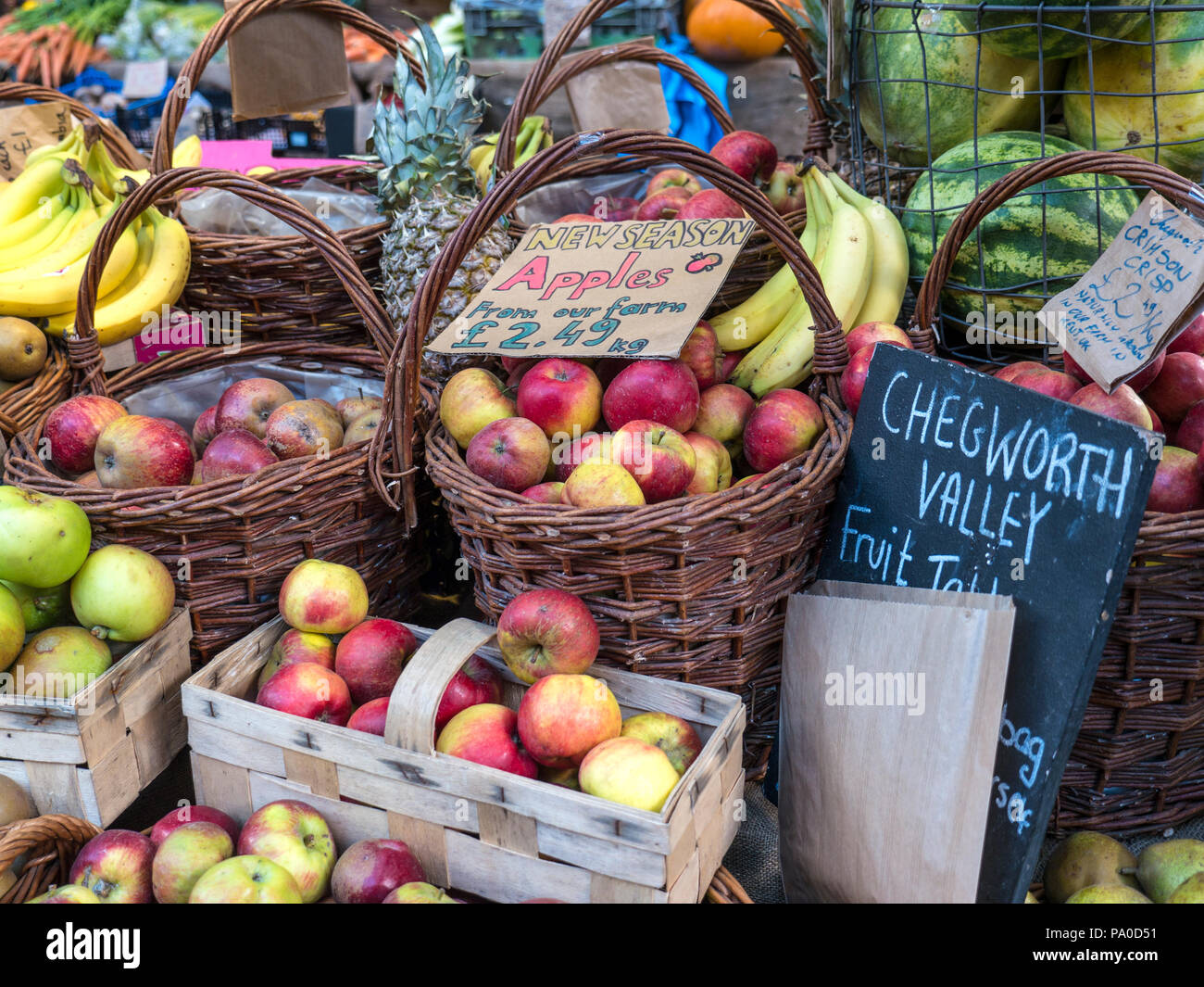 Borough Market English Apples fruit stall Chegworth Valley family run fruit farm hand selected new season fruit Southwark London UK - Stock Image