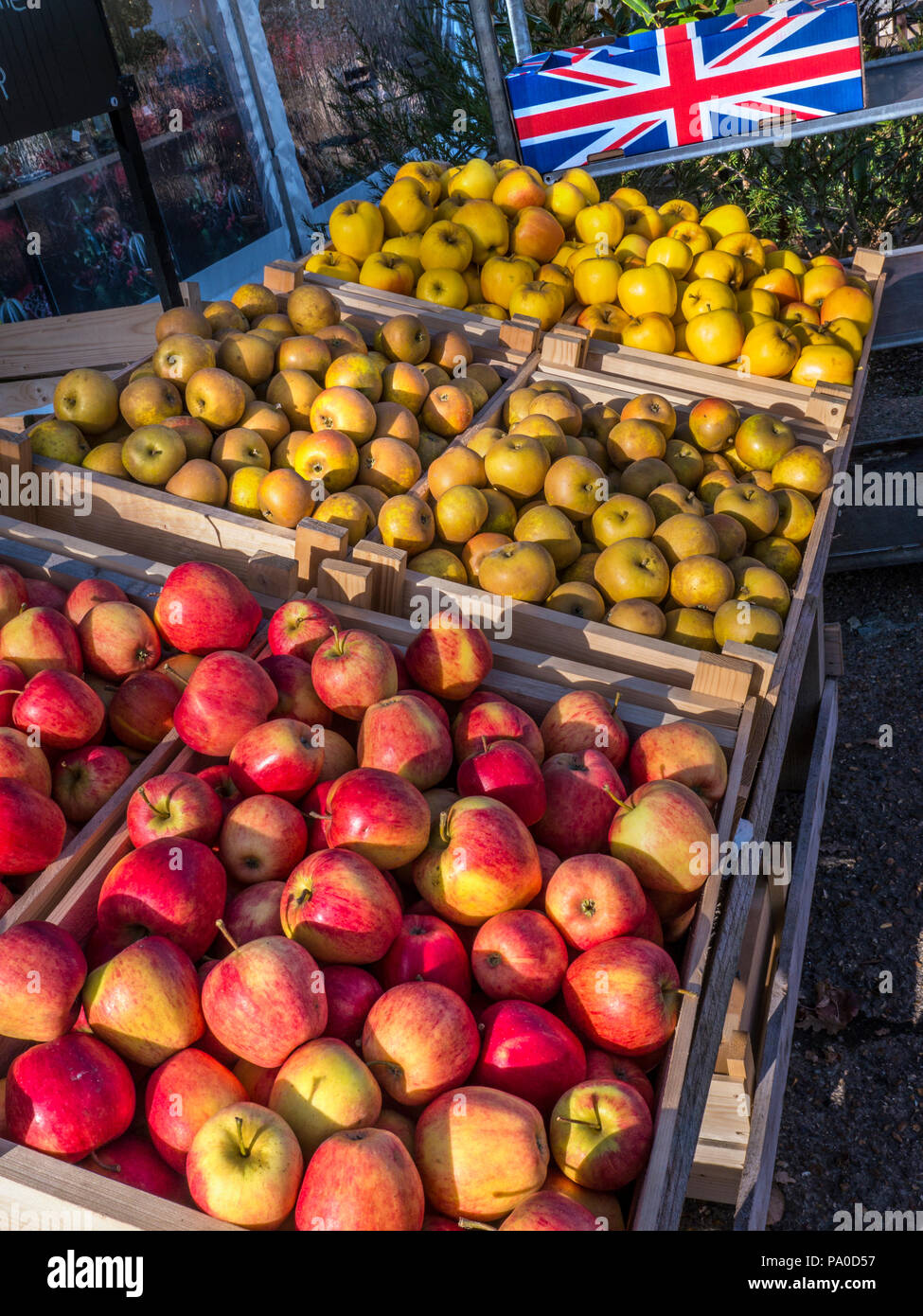 English Apples on sale at Farmers Market stall (L-R) Pinova / Russet / Opal apples illuminated in late autumn sunshine with Union Jack on apple crate - Stock Image