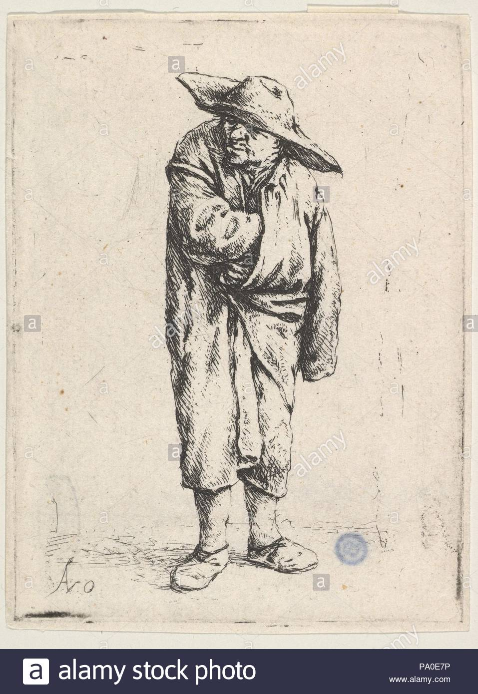 Peasant With His Hand In His Cloak, 17th century, Etching; second state of  seven, sheet: 3 7/16 x 2 1/2 in. (8.7 x 6.4 cm), Prints, Adriaen van Ostade  ...