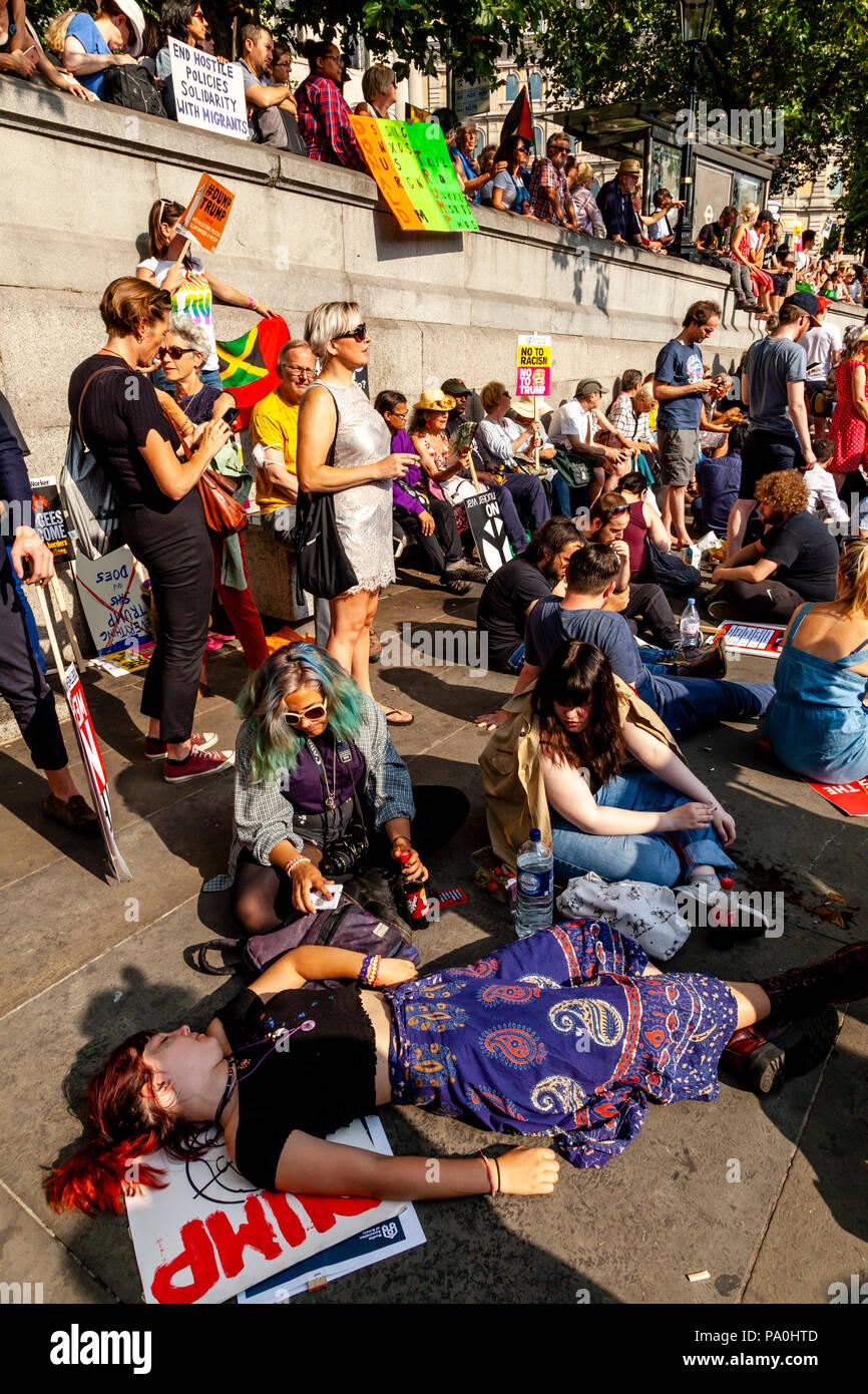 Anti Trump Protestors, Trafalgar Square, London, England - Stock Image
