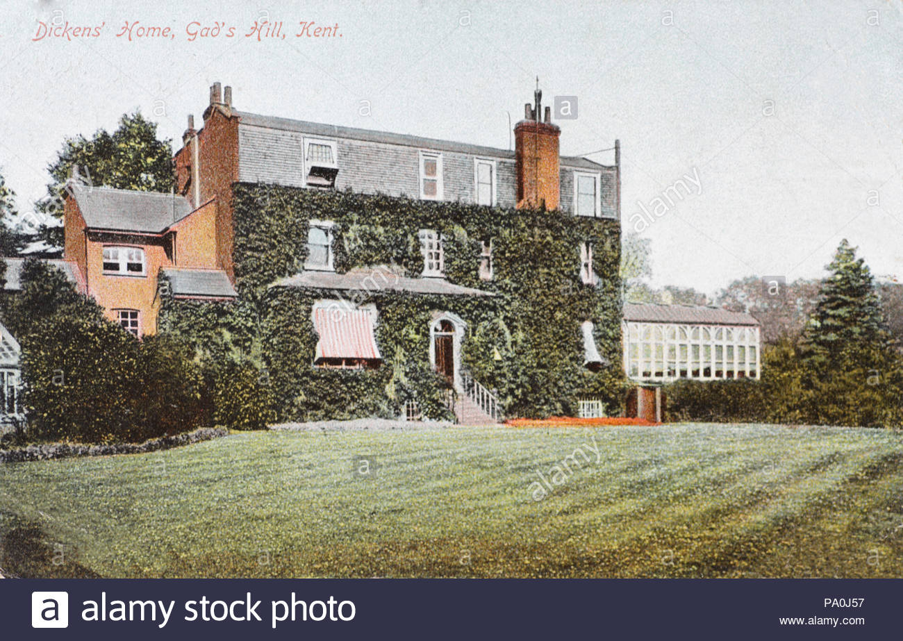 Charles Dickens' Home, Gad's Hill Kent, vintage postcard from 1907 - Stock Image