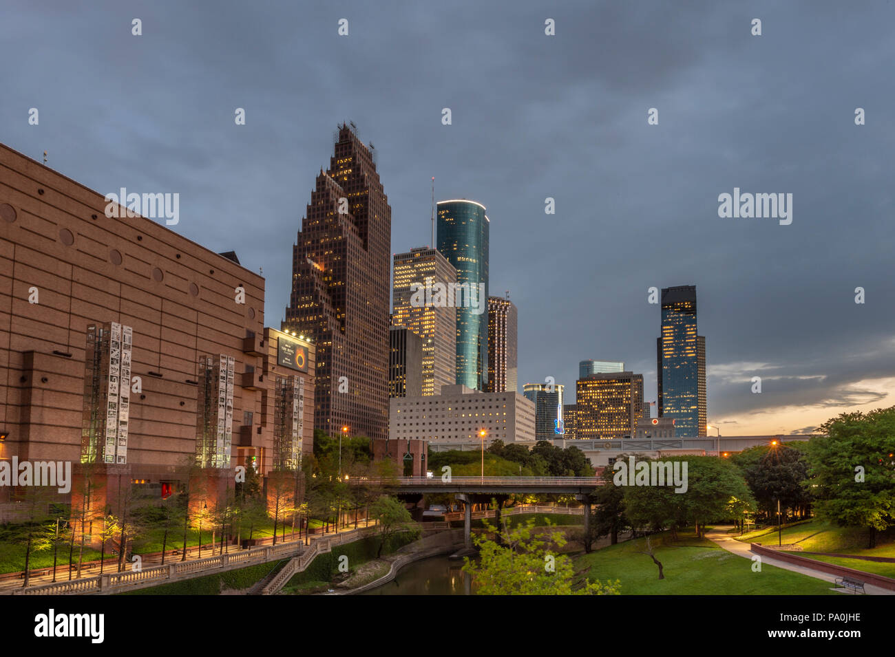 Buffalo Bayou in downtown Houston at night. - Stock Image