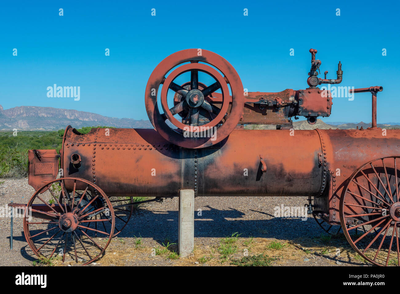 Cotton Farming Steam Engine at Castolon Historic District in Big Bend National Park in Texas Stock Photo