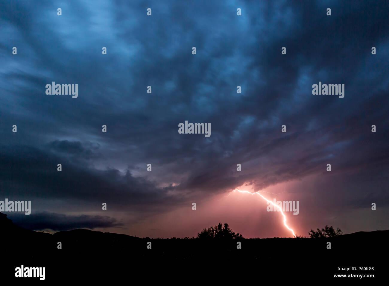 Lightning Strikes in Big Bend NP Stock Photo