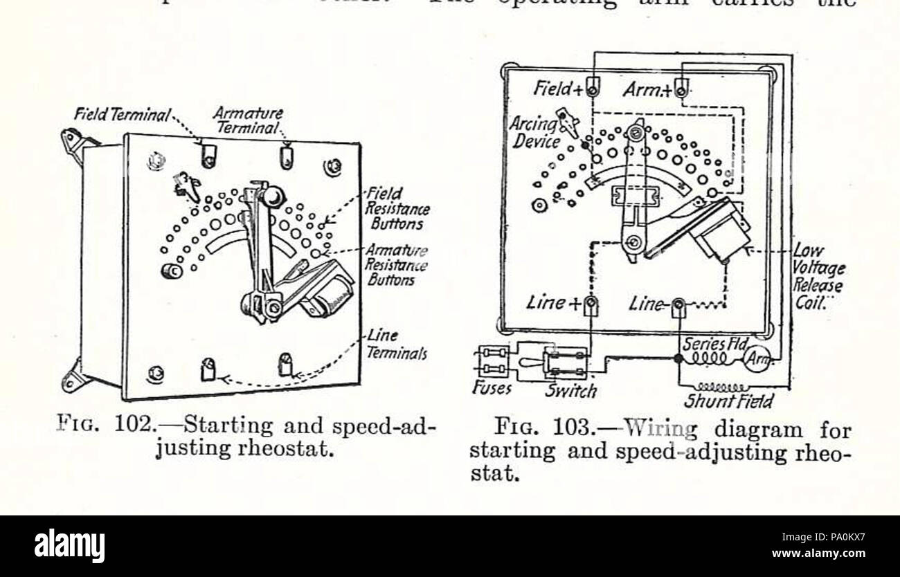 Rheostat Stock Photos Images Alamy Switch Wiring Diagram 613 Electrical Machinery 1917 Starter Image