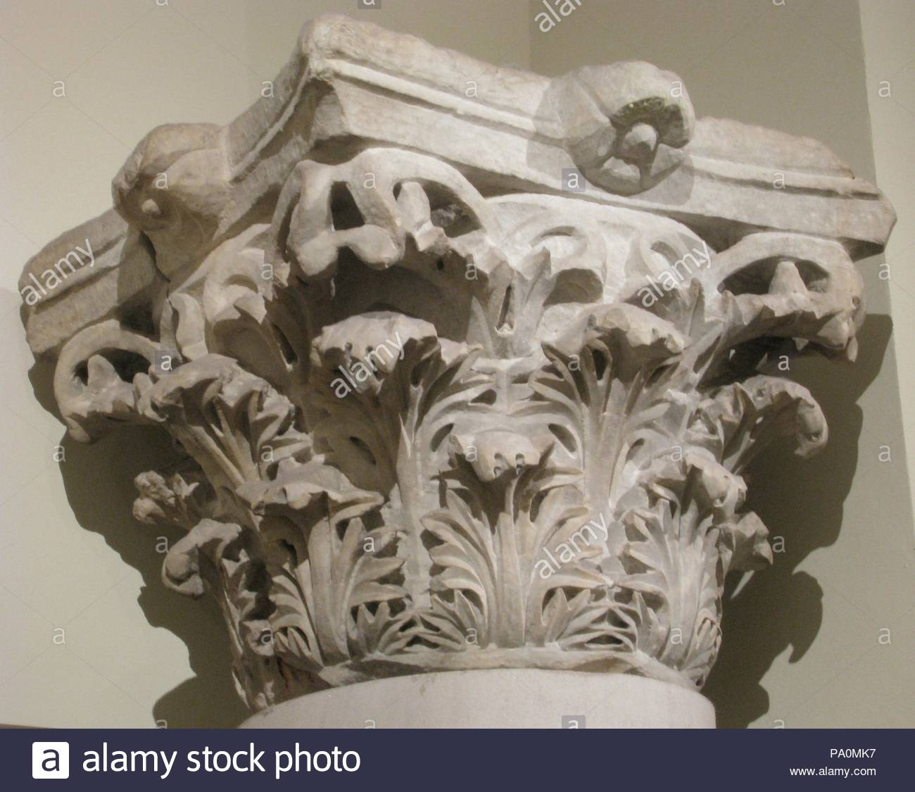 Capital with Acanthus Leaves, 4th century, Made in Egypt, Marble, Sculpture, Marble was often imported from quarries near Constantinople. This capital is carved in the classical Corinthian style, based on the shape of acanthus leaves. - Stock Image