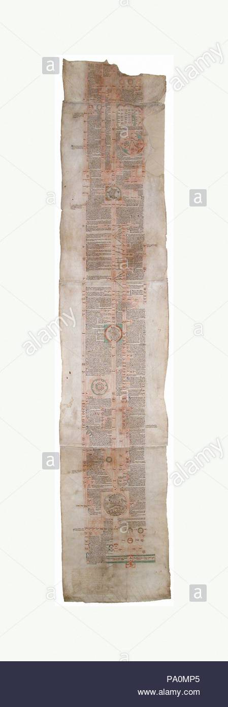 Fragment of a Compendium of the Genealogy of Christ, ca. 1230, British, Ink on vellum, Overall: 65 9/16 x 13 1/16 in. (166.5 x 33.2 cm) , Manuscripts and Illuminations, Written by Peter of Poitiers, chancellor at the University of Paris from 1193 to 1205, and frequently copied, the Compendium historiale in genealogia Christi is an account of world history in the form of a genealogical tree of Christ. - Stock Image