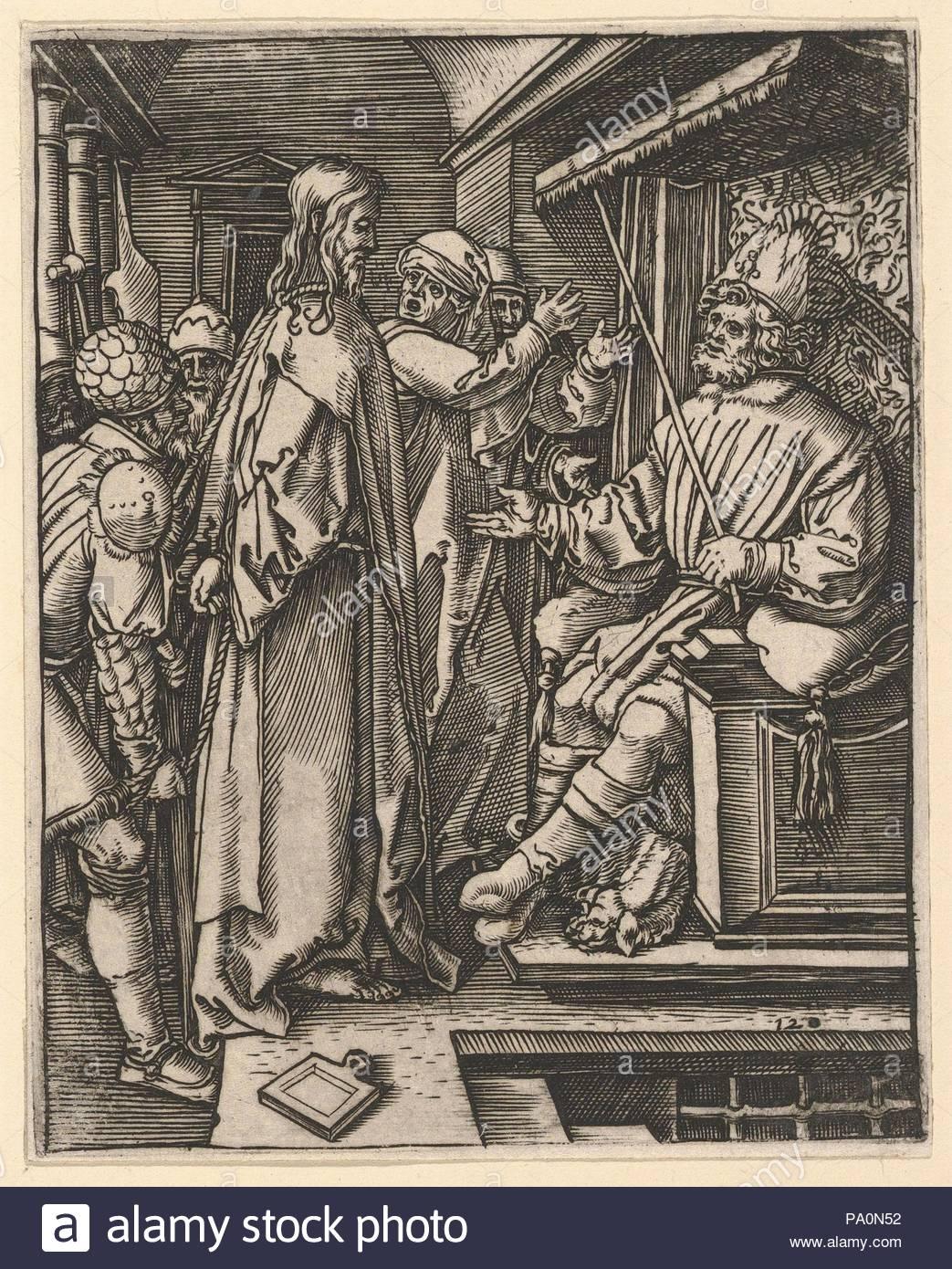Christ standing, hands tied behind back, before Herod seated on throne, after Dürer, ca. 1500–1534, Engraving; second state of three, Sheet: 5 1/16 in. × 4 in. (12.8 × 10.2 cm), Prints, Marcantonio Raimondi (Italian, Argini (?) ca. 1480–before 1534 Bologna (?)), After Albrecht Dürer (German, Nuremberg 1471–1528 Nuremberg). - Stock Image