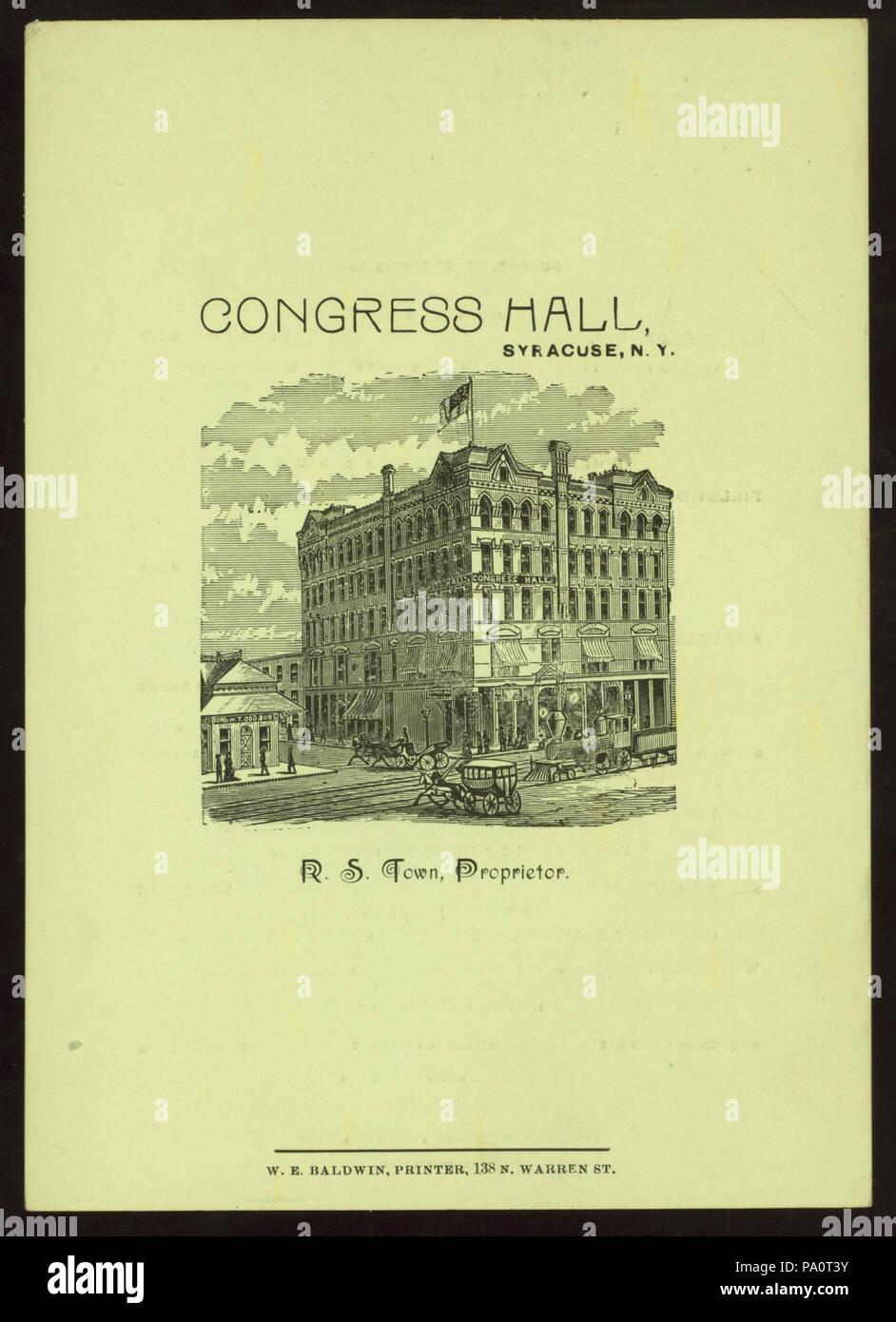538 DINNER (held by) CONGRESS HALL (at) SYRACUSE NY (HOTEL;) (NYPL Hades-275227-4000011839) - Stock Image