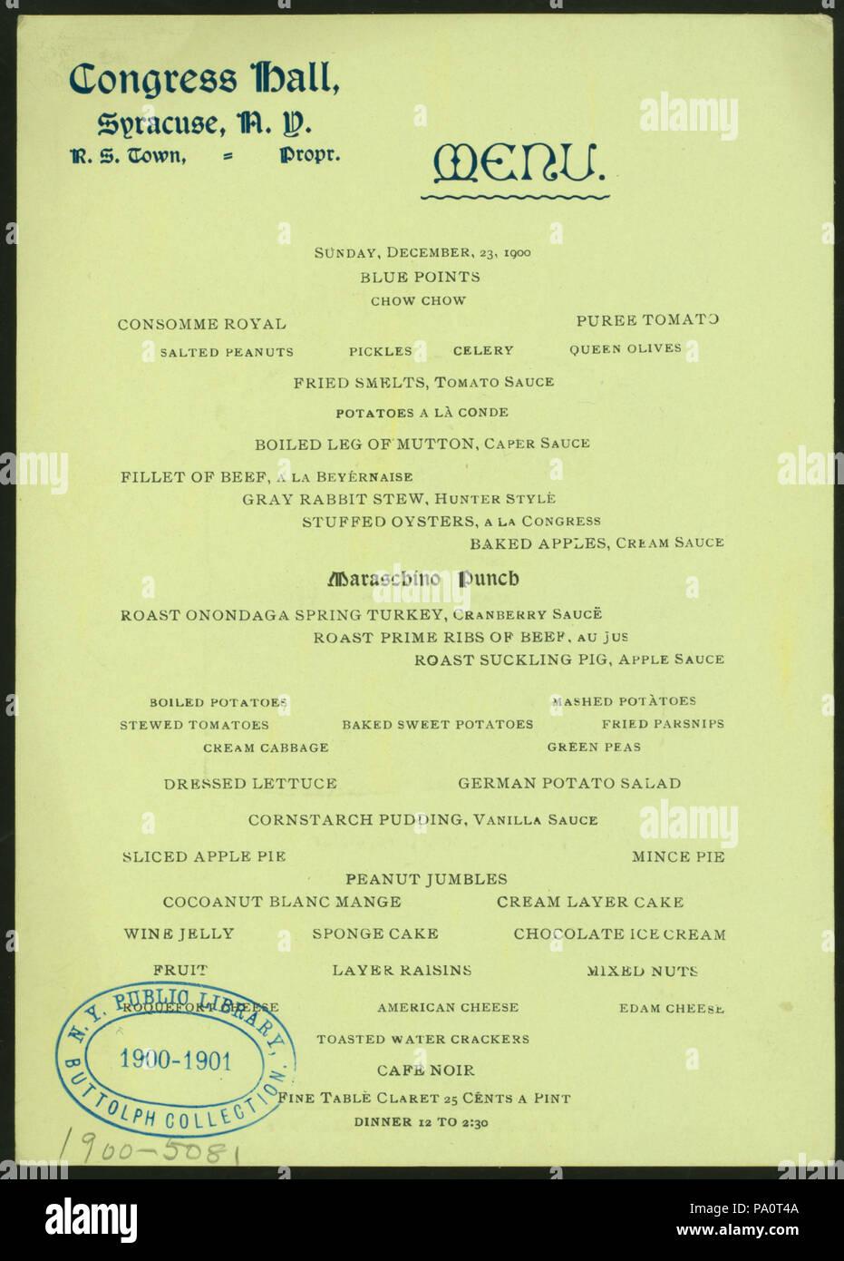 538 DINNER (held by) CONGRESS HALL (at) SYRACUSE NY (HOTEL;) (NYPL Hades-275227-476326) - Stock Image