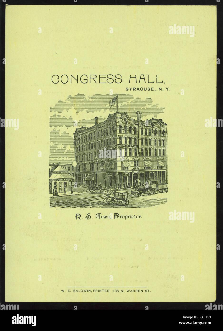 538 DINNER (held by) CONGRESS HALL (at) SYRACUSE NY (HOTEL;) (NYPL Hades-275228-476327) - Stock Image