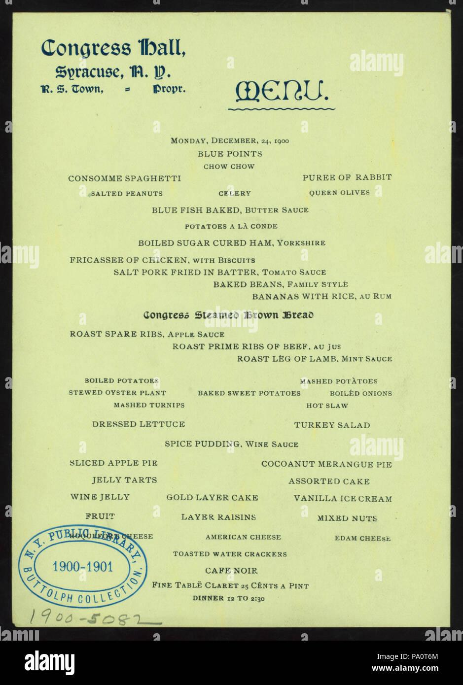 538 DINNER (held by) CONGRESS HALL (at) SYRACUSE NY (HOTEL;) (NYPL Hades-275228-4000011840) - Stock Image