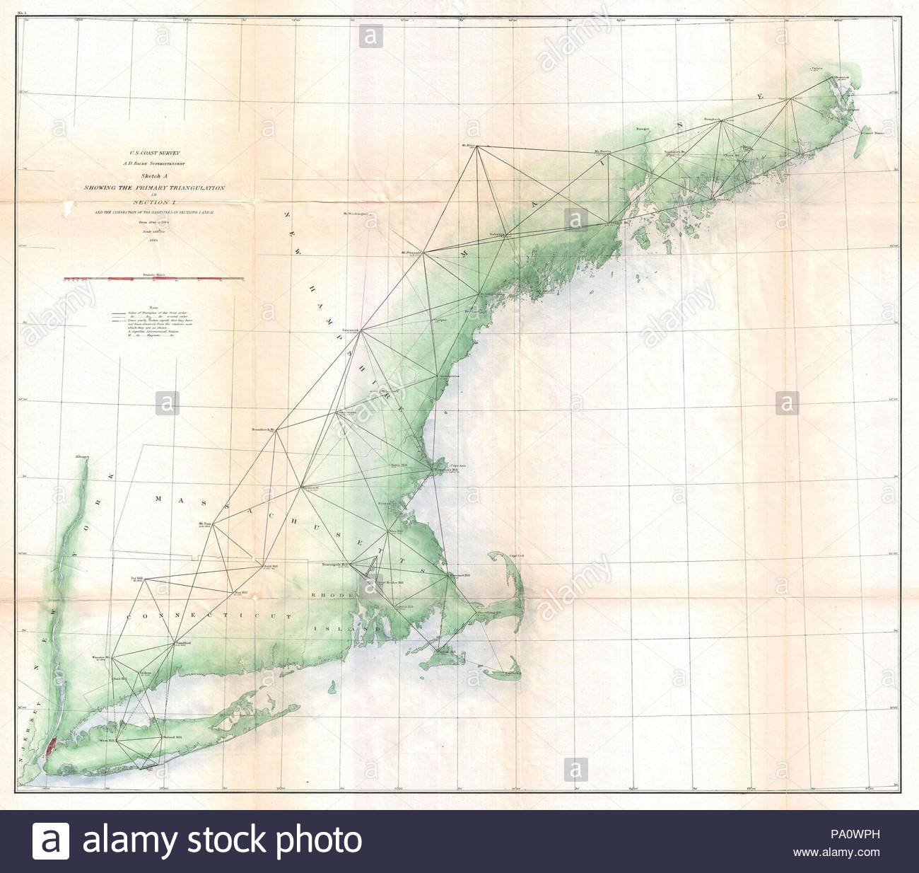 1864 Us Coast Survey Map Or Trianguation Chart Of New England - Us-map-1864