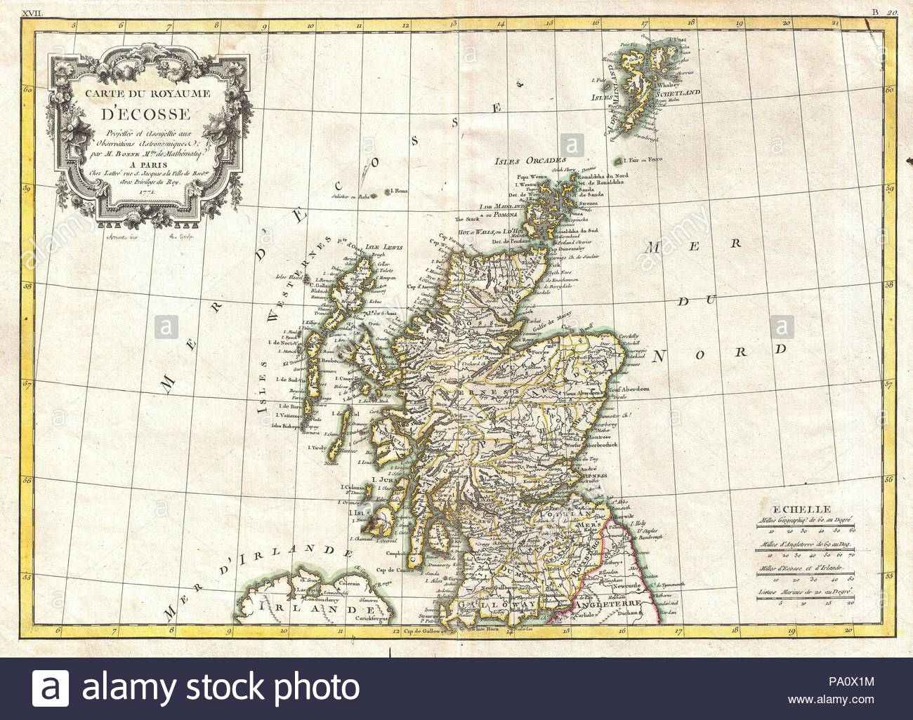 1772, Bonne Map of Scotland, Rigobert Bonne 1727 – 1794, one of the most important cartographers of the late 18th century. - Stock Image