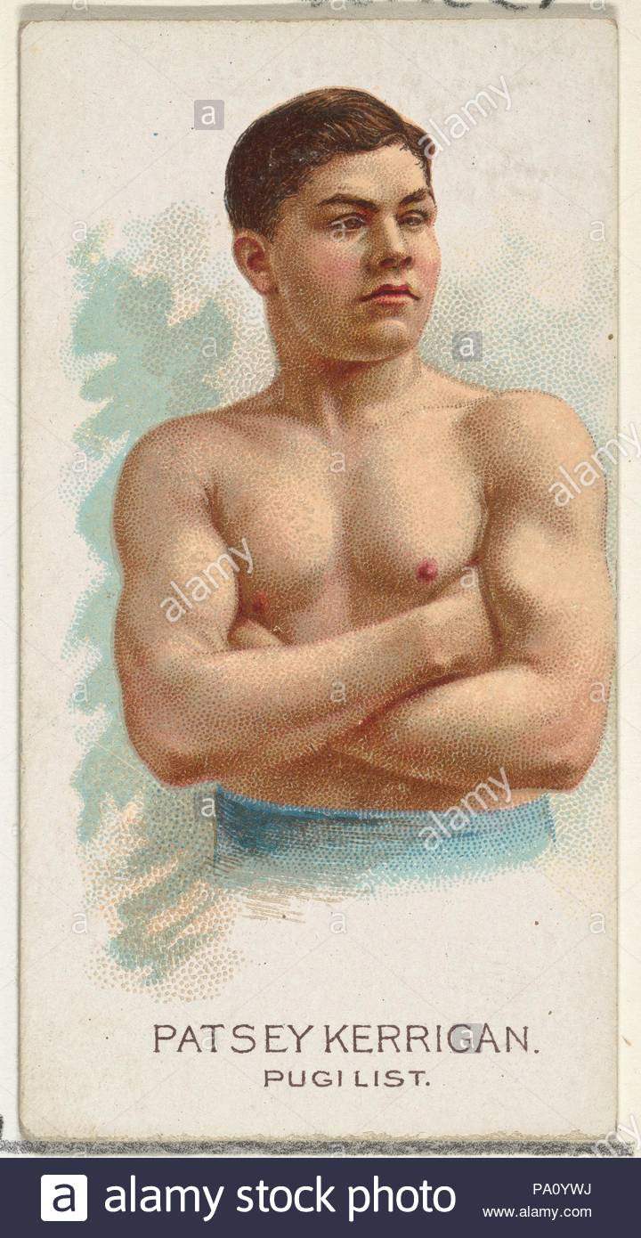 Patsey Kerrigan, Pugilist, from World's Champions, Series 2 (N29) for Allen & Ginter Cigarettes, 1888, Commercial color lithograph, Sheet: 2 3/4 x 1 1/2 in. (7 x 3.8 cm), Trade cards from 'World's Champions,' Series 2 (N29), issued in 1888 in a set of 50 cards to promote Allen & Ginter brand cigarettes. - Stock Image