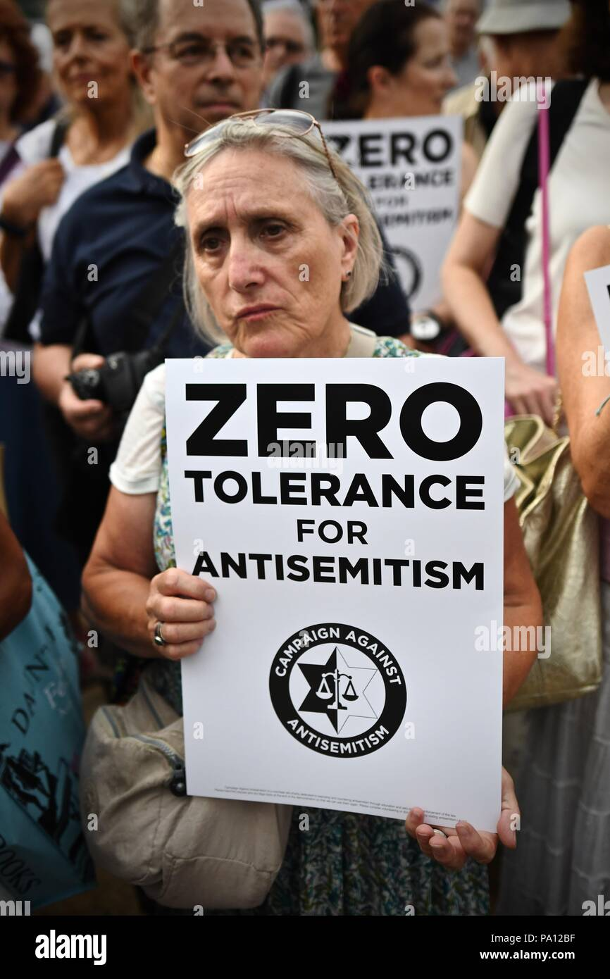 Westminster London England - 19th July 2018 - Protests take place outside Parliament by the Jewish community increasingly concerned by levels of anti semitism in the Labour Party. Photos by Incmonocle - Stock Image