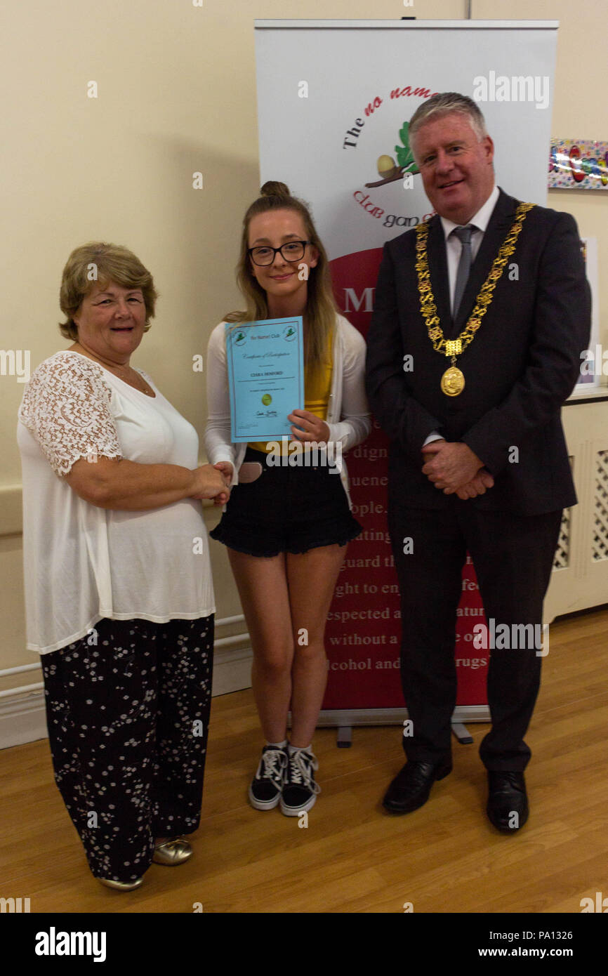 Cork City, Ireland. 19th July, 2018. Tonight St Josephs No Name Club met for their annual graduation ceromoney in St Josephs Community Centre, Mayfield. Each Host/Hostess were awarded a certificate for their complation of the year by Carrole Goulding and the Lord Mayor of Cork, Mick Finn. Pictured here is Ciara Hosford No Name! Clubs respect the dignity, value and uniqueness of all young people by supporting, advocating and helping to safeguard their right to enjoy life, feel respected and to mature without a reliance on alcohol and other drugs. Credit: Damian Coleman/Alamy Live News - Stock Image