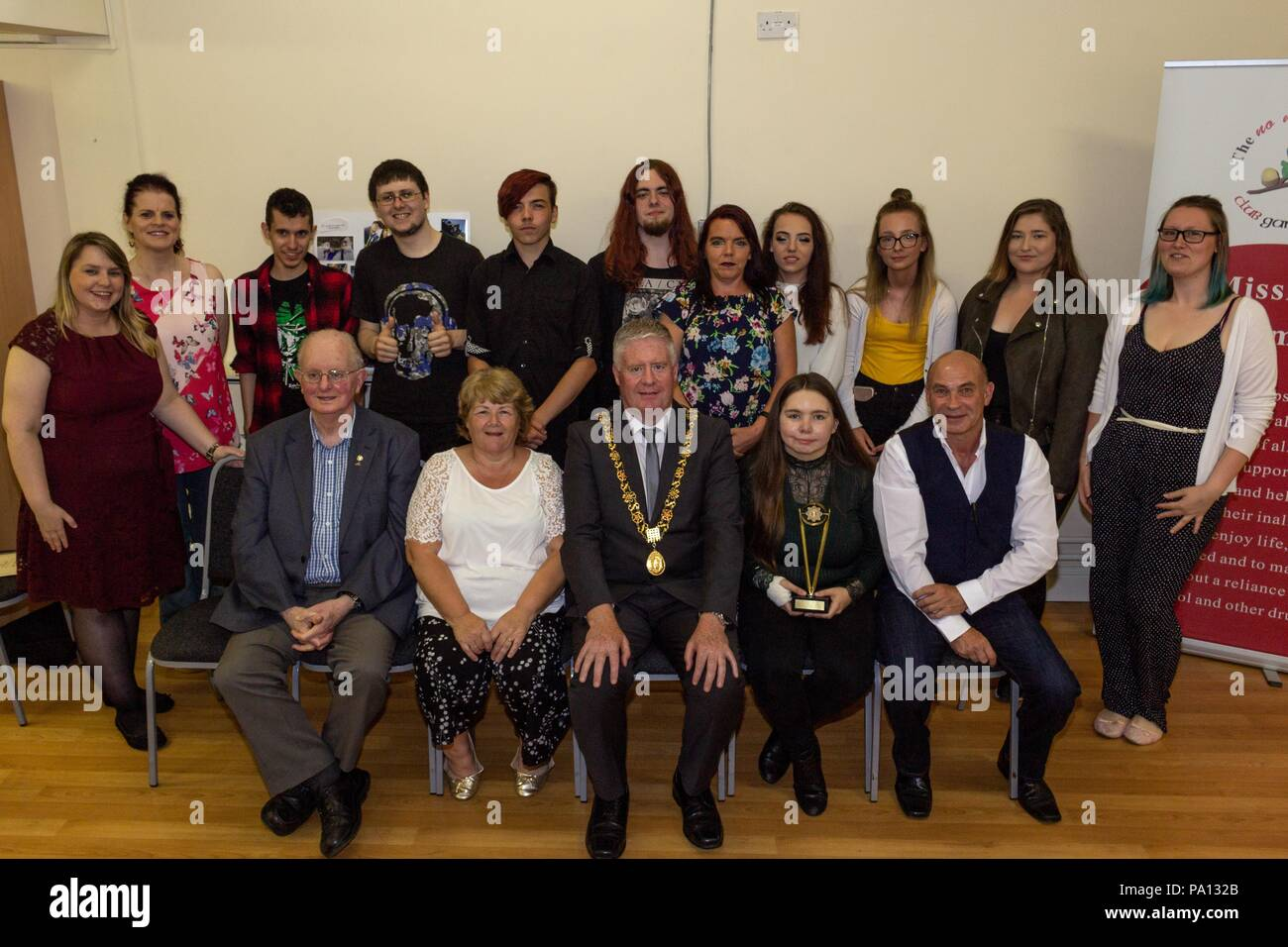Cork City, Ireland. 19th July, 2018. Tonight St Josephs No Name Club met for their annual graduation ceromoney in St Josephs Community Centre, Mayfield. Each Host/Hostess were awarded a certificate for their complation of the year by Carrole Goulding and the Lord Mayor of Cork, Mick Finn. No Name! Clubs respect the dignity, value and uniqueness of all young people by supporting, advocating and helping to safeguard their right to enjoy life, feel respected and to mature without a reliance on alcohol and other drugs. Credit: Damian Coleman/Alamy Live News - Stock Image