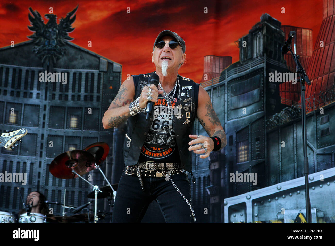 Malakasa, Greece. 19th July, 2018. Vocalist Mark Tornillo Of German Heavy Metal Group Accept Performing Live On Stage At Rockwave Festival in Terravibe park 37th km north of Athens. Credit: Aristidis Vafeiadakis/ZUMA Wire/Alamy Live News - Stock Image