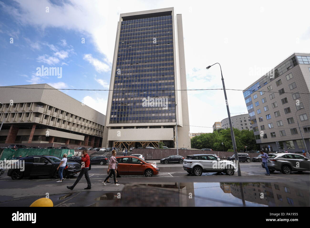 Moscow, Russia. 20th July, 2018. MOSCOW, RUSSIA - JULY 20, 2018: A view of the Moscow building of the Roscosmos State Corporation responsible for Russian space industry development. Mikhail Tereshchenko/TASS Credit: ITAR-TASS News Agency/Alamy Live News - Stock Image