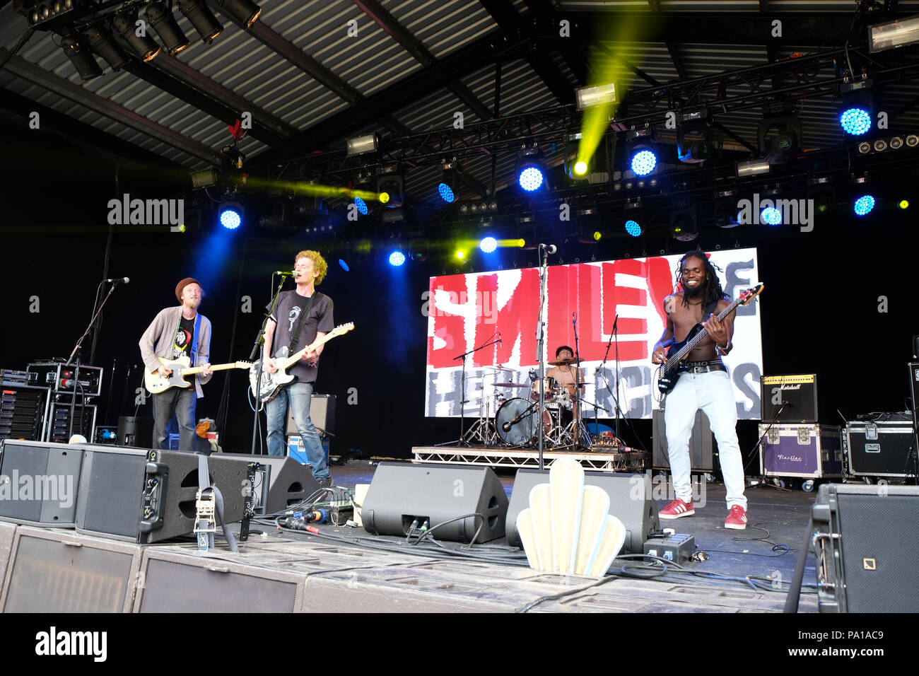 Nozstock Festival near Bromyard, Herefordshire, UK - Friday 20th July 2018 - Smiley and the Underclass perform on the Orchard Stage at the start of the 20th Nozstock music festival in warm sunshine with local temps of 25c -  Nozstock runs until Sunday 22nd July 2018. Photo Steven May  / Alamy Live News - Stock Image