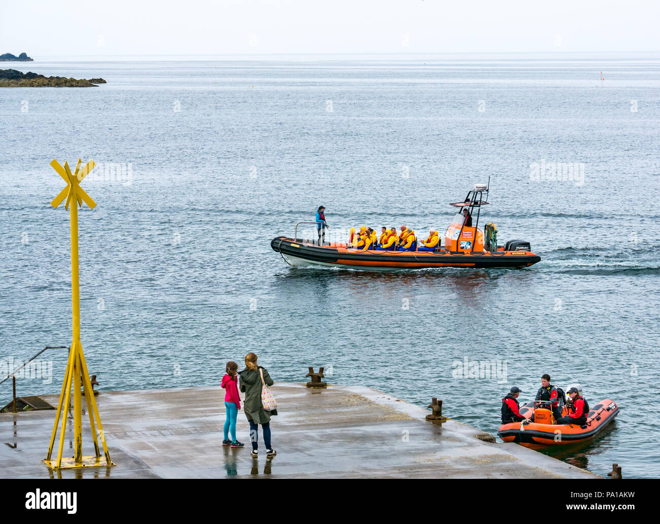North Berwick, East Lothian, Scotland, United Kingdom, 20th July 2018. A misty morning is a relief for gardeners and farmers in a break from the Summer heatwave, but a damp day for visitors to the seaside town. People on a boat trips from the Scottish Seabird Centre around the islands in the Firth of Forth in a rigid inflatable speed boat - Stock Image