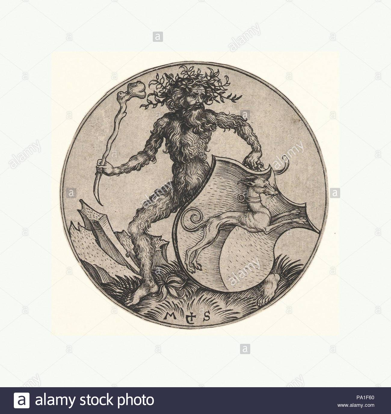 Shield With Greyhound Held By Wild Man Nd Engraving Frame Size