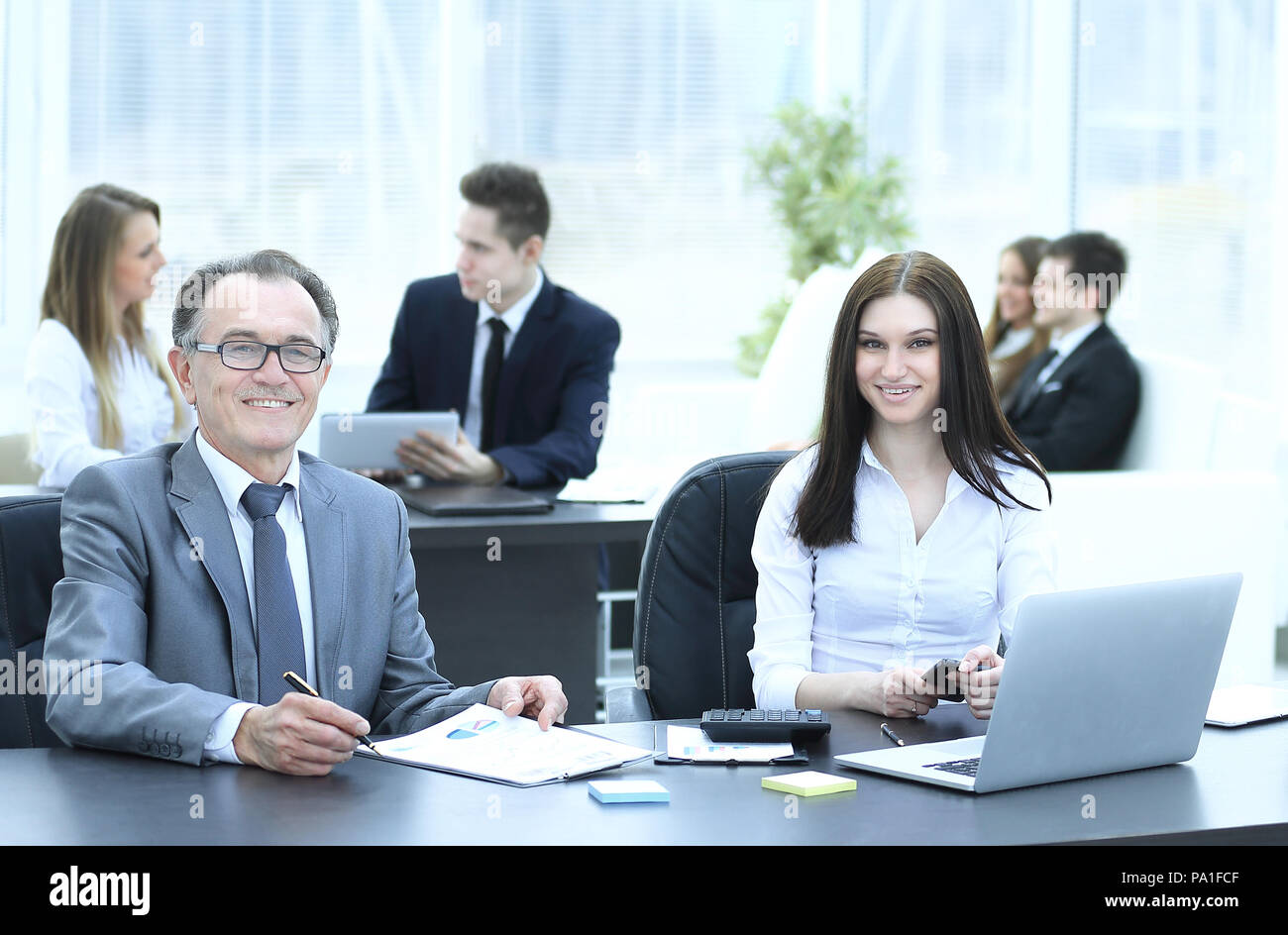 businessman and business team at the workplace - Stock Image