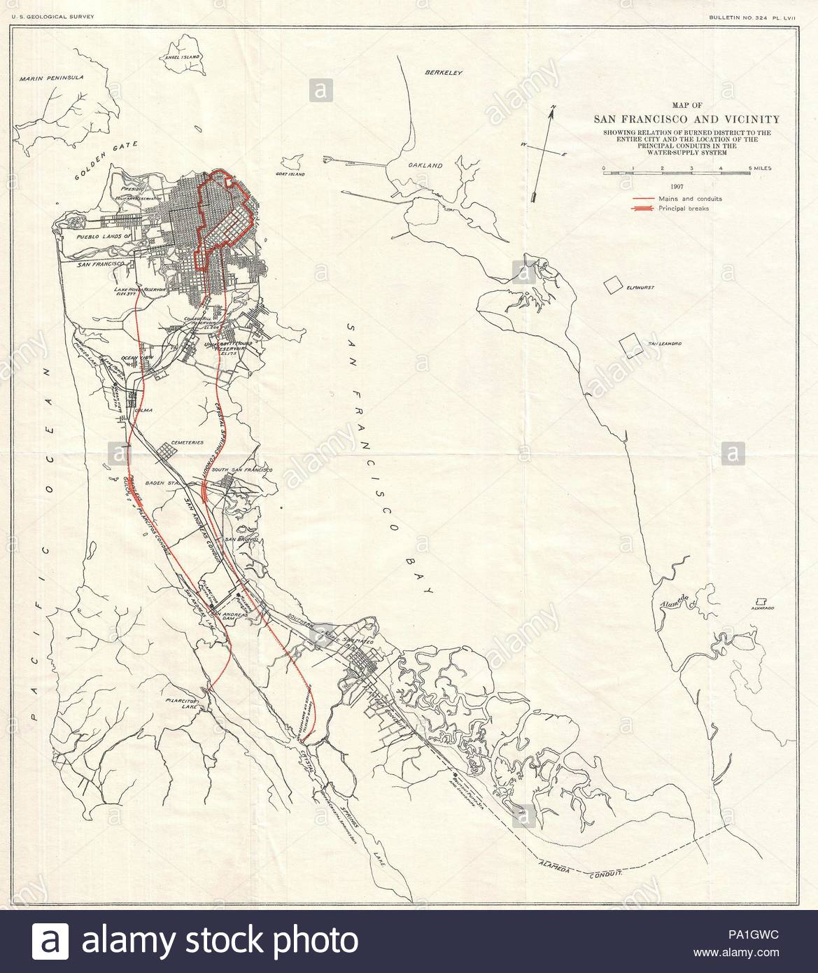 1906 Earthquake Map.1907 Geological Survey Map Of San Francisco Peninsula After 1906