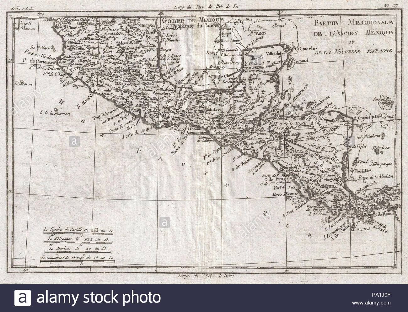Mexico Map 1794.1780 Raynal And Bonne Map Of Central America And Southern Mexico