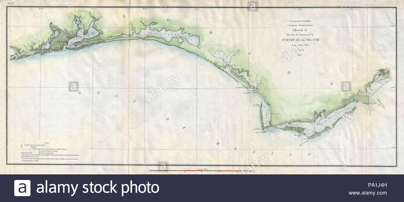 Map Of Western Florida.1853 U S Coast Survey Map Of The Western Florida Panhandle Stock