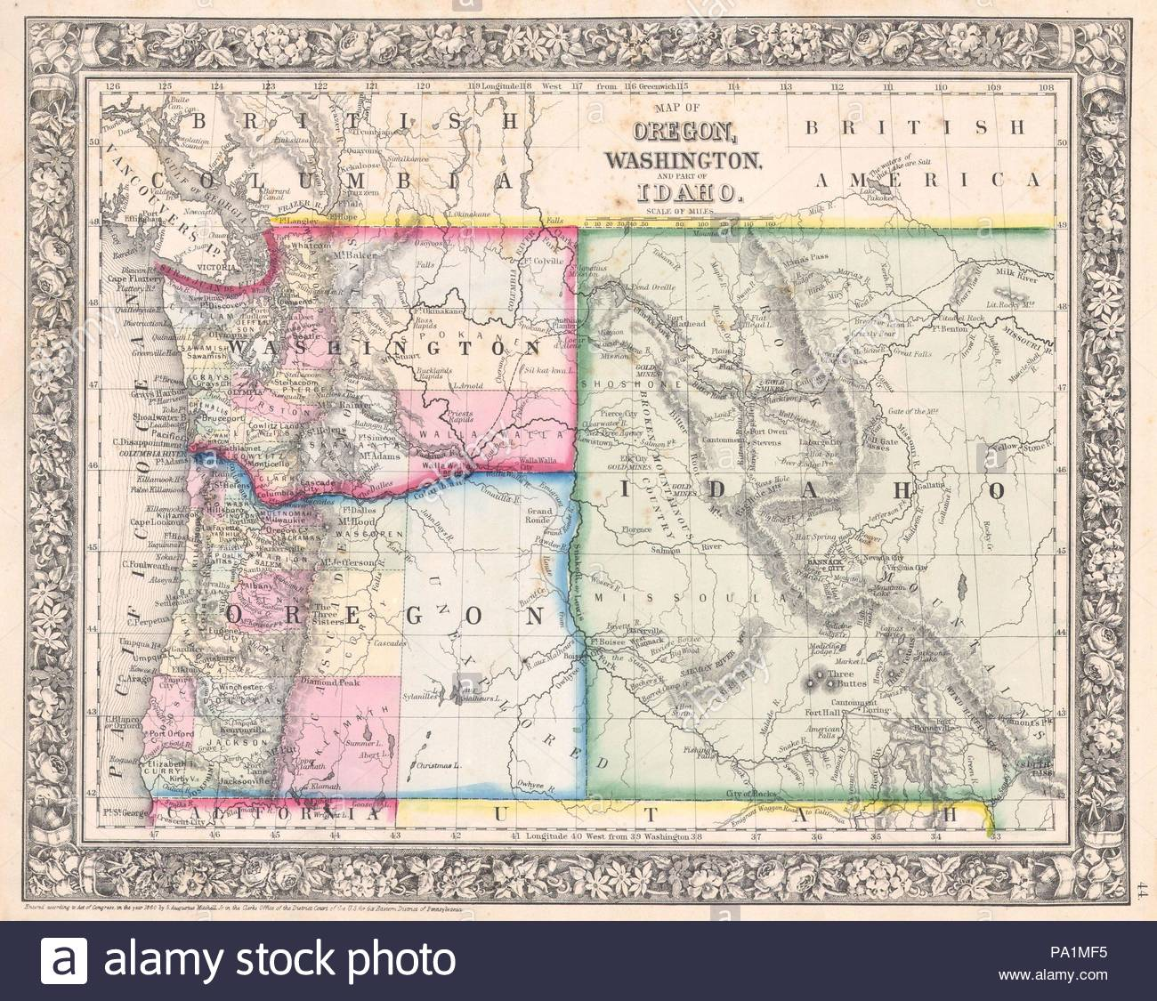 1864 Mitchell Map Of Washington Oregon And Idaho Stock Photo